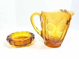 Fostoria Coin Glass 32oz Pitcher & Ashtray Amber Frosted Coins Vintage H... - $45.00