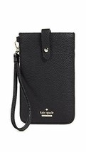 kate spade pebbled Leather phone sleeve Holder Wristlet Wallet ~NWT~ Black - $64.35