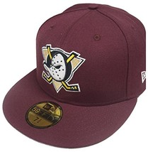 Era 59Fifty Anaheim Mighty Ducks Fitted Hat Maroon Men's NHL Hockey Cap - $63.78