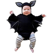 BELS Baby Girl Boy Halloween Clothes Black Bat Costume Cloak Romper with... - $18.95