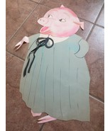 Vtg Hand drawn colored paper PIG student School Bulletin board Cute Larg... - $20.00