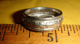 VTG 925 STERLING SILVER FORGED REPOUSSE FLORAL FLOWER WEDDING ETERNITY B... - $127.99