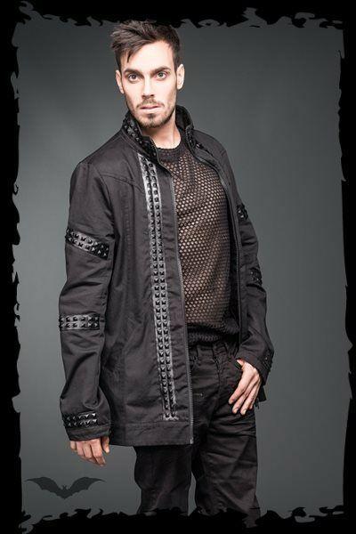 Men's Black Goth Punk Pyramid Stud Jacket Vegan Leather Rock Metal Fetish Coat