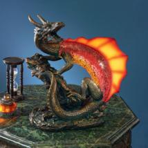 ILLUMINATED DRAGON SCULPTURE LAMP Serpent Figurine Statue Home Decor Col... - $226.48