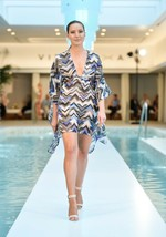 $210 VITAMIN A Swimwear ZIG ZAG Multi COVER UP Caftan TOP Cotton XS/S Fr... - $124.97
