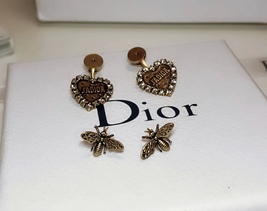 AUTHENTIC Christian Dior 2019 J'ADIOR Heart Crystal Dangle Earrings Wasp Gold image 6