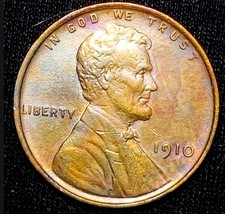 1910 UNC Lincoln Cent  Wheat Penny . SOME TONING . C33 - $44.10