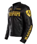 Handmade men s ferrari motorcycle leather biker jacket in black with yellow logo1 thumbtall