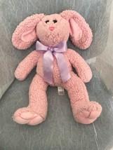 "Adventure Adventure Pink Bunny Rabbit Chenille Soft 18"" Purple Bow - $33.85"