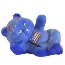 Hand Painted FENTON Art Glass TEDDY BEAR Figurine Lets Roll America Fleming - $118.75