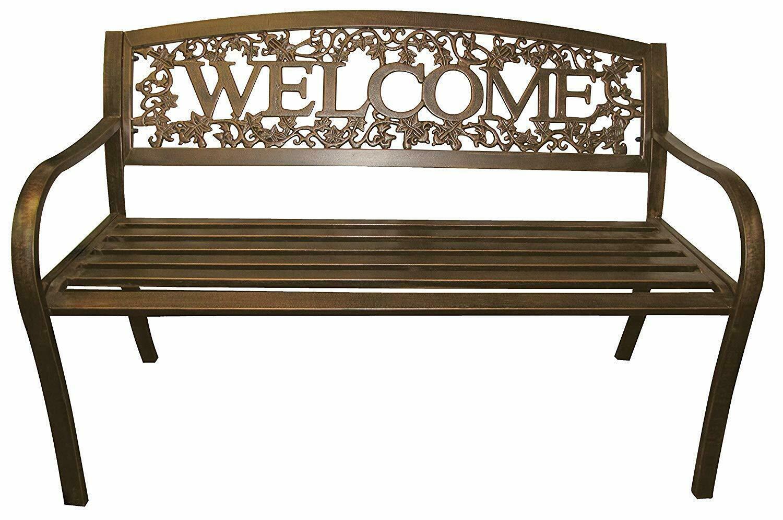 NEW Welcome Outdoor Garden Bench Park Lawn Patio Furniture Bronze Metal Vines