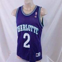 Vintage 90s Charlotte Hornets Larry Johnson Champion NBA Basketball Jers... - $69.99