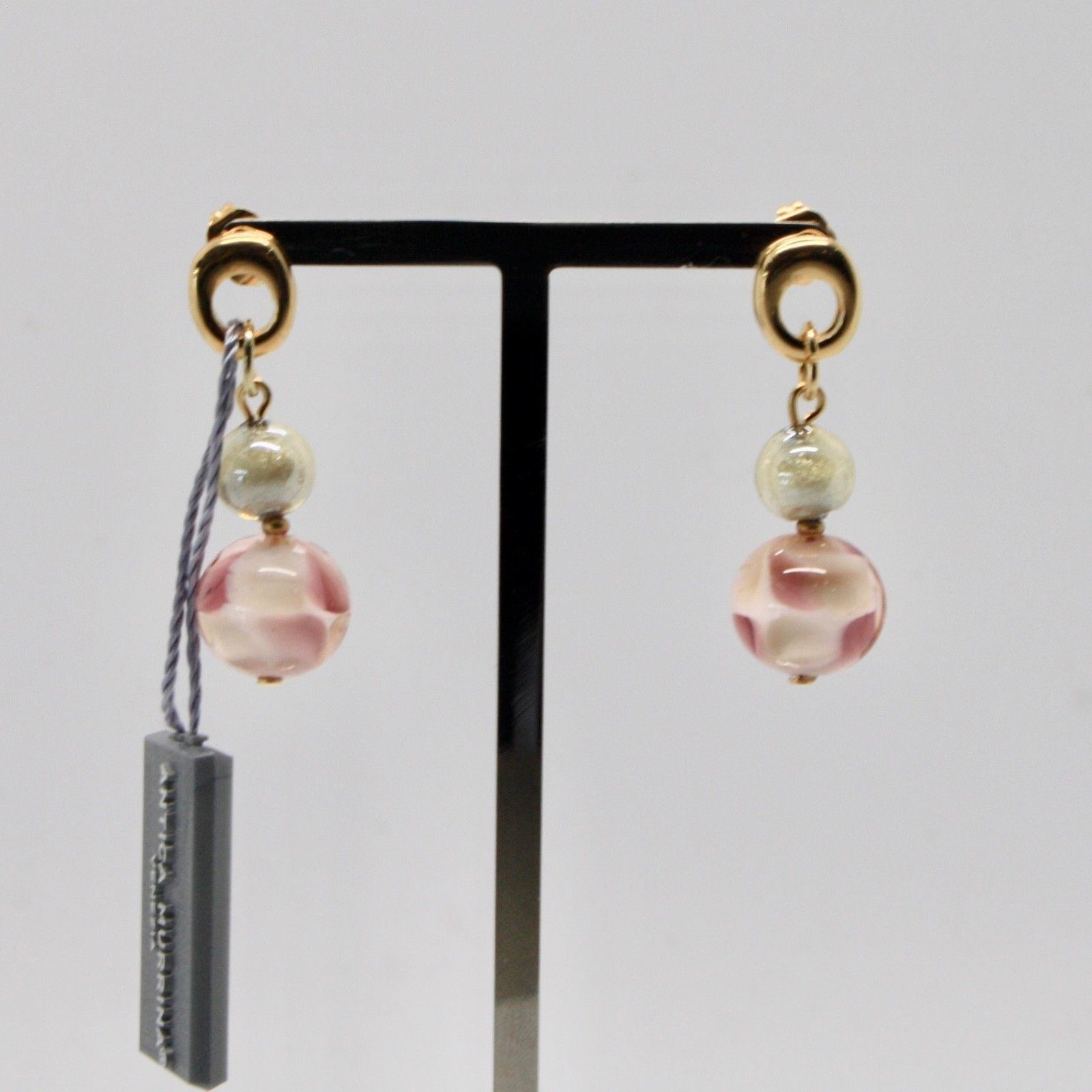 EARRINGS ANTICA MURRINA VENEZIA WITH MURANO GLASS PINK GRAY GOLD OR588A05