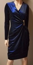 Calvin Klein Long Sleeve Womens Dress, Size: 2, Color: Black/Blue - $64.99