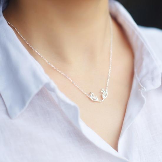 Elk antlers 925 sterling silver pendant necklace