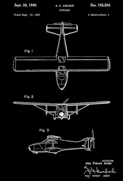 Primary image for 1949 - Waco Aircraft Airplane - A. F. Arcier - Patent Art Poster