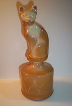 Fenton Glass Chocolate Caramel Slag Stylized Cat Figurine on Font Special Order - $115.92