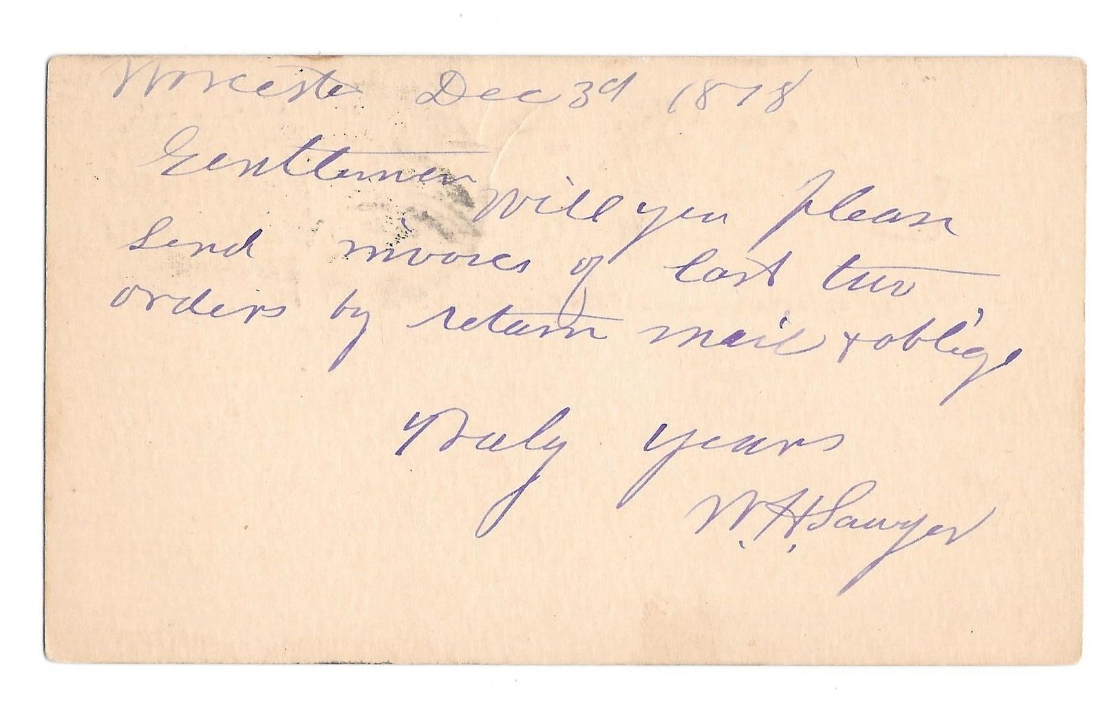 UX5 Worcester Mass 1878 Fancy Cork Cancel Wedges Postal Card image 2