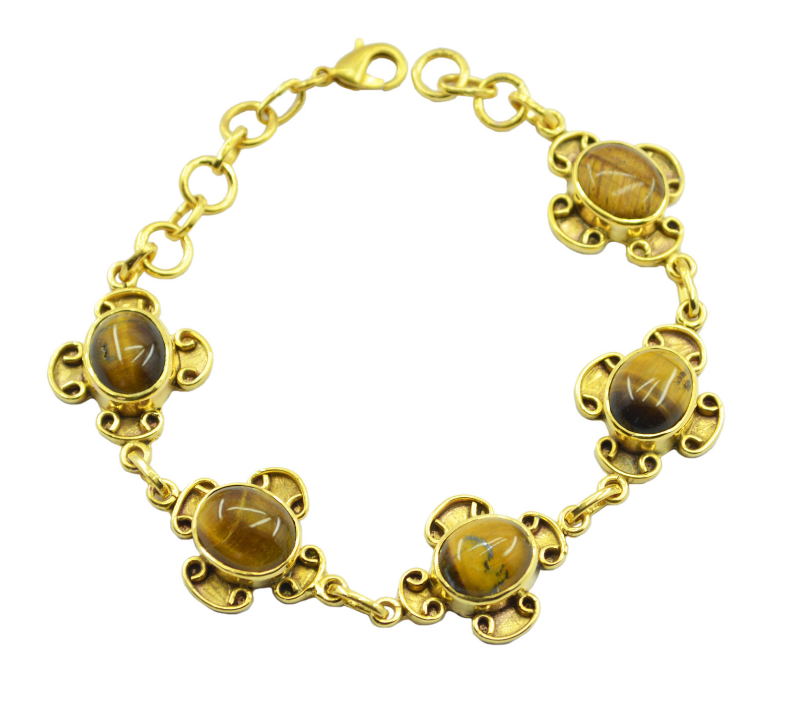 comely Tigers Eye Gold Plated Brown Bracelet genuine indian US gift - $28.21