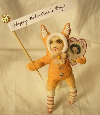 Vintage Inspired Spun Cotton Valentine Cat Girl  147