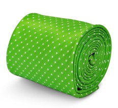 Frederick Thomas mens tie in lime green with white polka dots