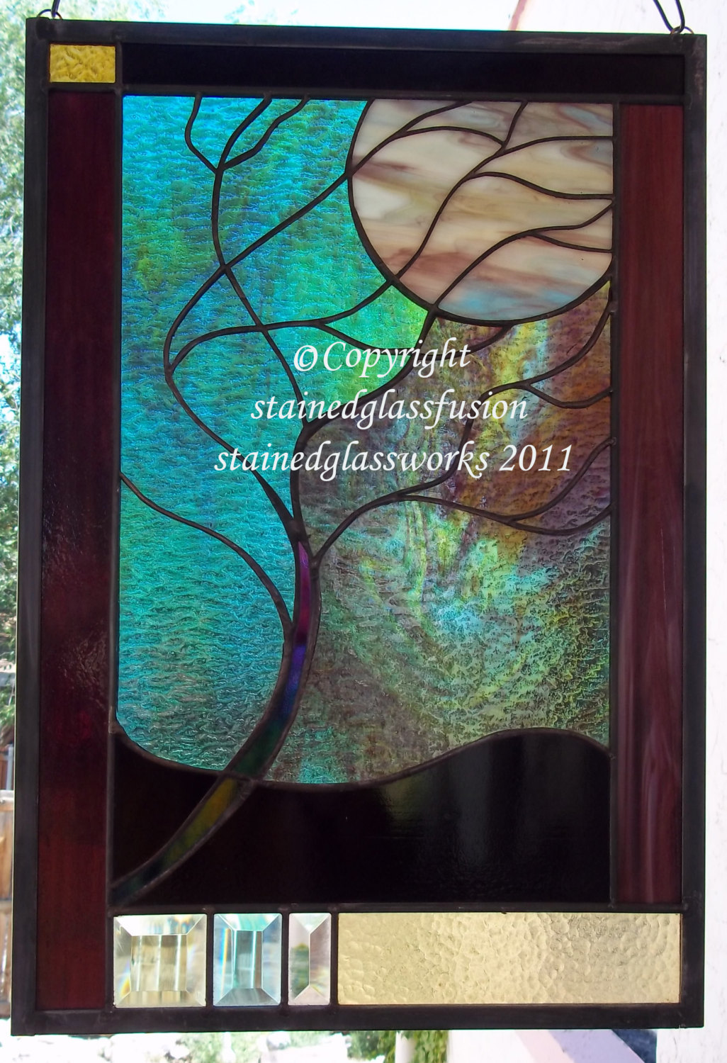 Stained Glass moonlit tree window panel turquoise glass beveled turquoise green