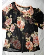 A New Day Womens Blouse Black Orange Floral 3/4 Sleeve Scoop Neck Top XS... - $9.89