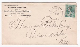 HENRY M. JOHNSTON FARM PRODUCTS, LUMBER, MACHINERY LA VALLE, WIS 10/12/1888 - $2.68