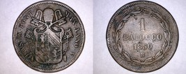 1850-VR Italian States Papal States 1 Baiocco World Coin - Pius IX - $24.99