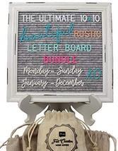Rustic Felt Letter Board Ultimate Bundle Farmhouse Vintage White Wood Fr... - $29.97