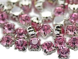 6mm SS30 Pink Lt. Sew on Crystal Diamante Rhinestone Rose Montee Beads f... - $11.87