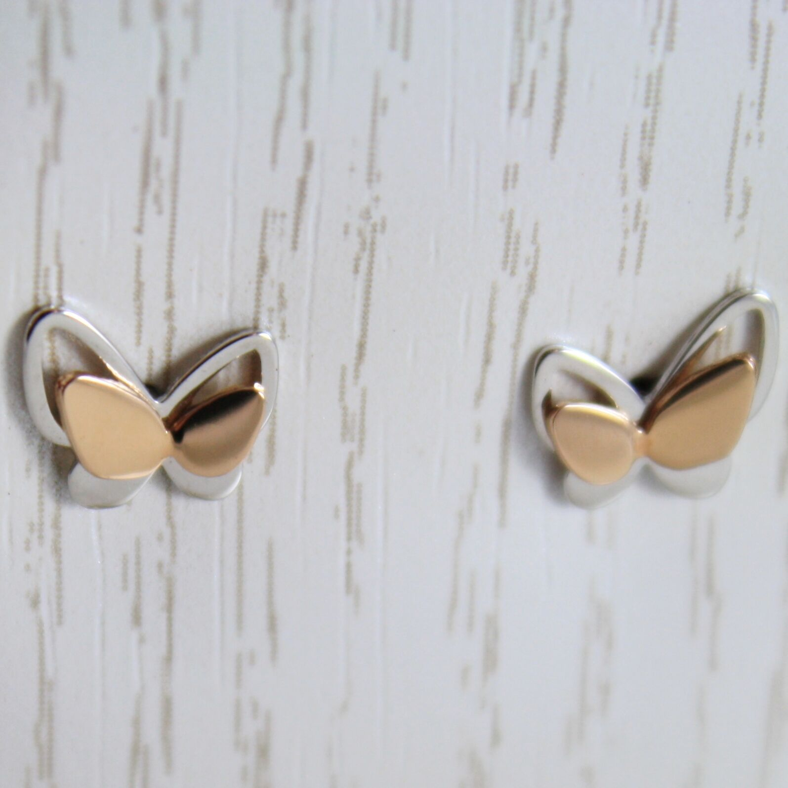 Gold Earrings White and Pink 750 18k Stud, Butterflies, Length 0.7 cm
