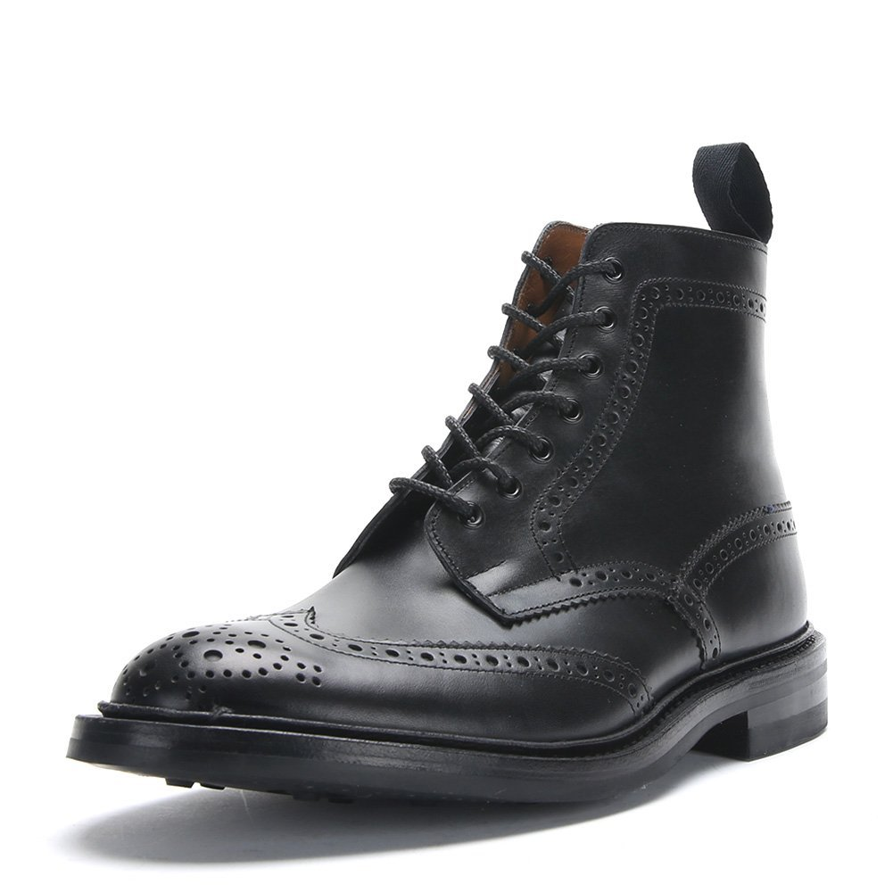 Tricker's Men's Stow Leather Brogue Boots 5634 Black Calf, UK 9 / US 9.5