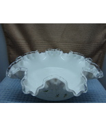 Fenton Glass silver crest spanish lace,glass ruffled hand painted signed... - $15.00