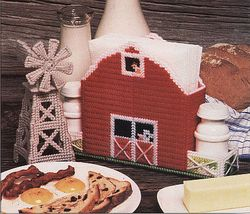 Plastic Canvas Windmill Tissue Cover Red Barn Organizer Baseball Coaster... - $8.99