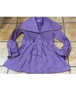 LINEA DOMANI JACKET PURPLE 6 S RAIN COAT BIG BUTTONS RUCHED L COLLAR BOU... - $22.50