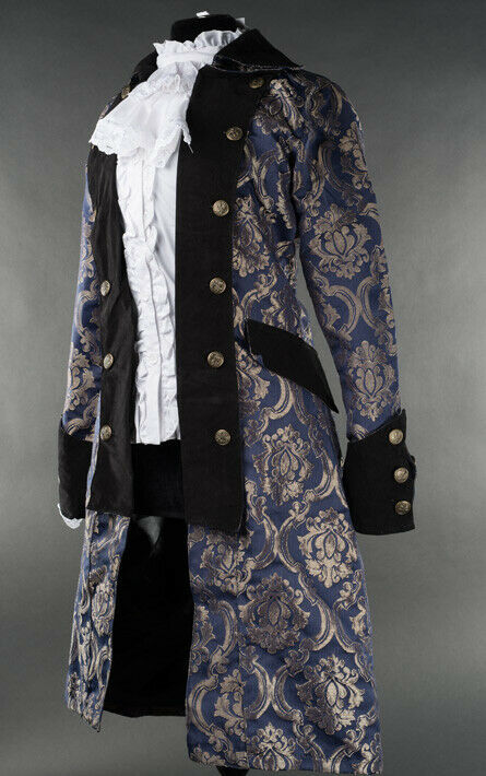 Primary image for Blue Brocade Gothic Victorian Officer Jacket Steampunk Long Pirate Princess Coat