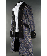 Blue Brocade Gothic Victorian Officer Jacket Steampunk Long Pirate Princ... - $105.41