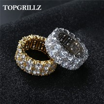 2 Row CZ Solitaire Ring For Men/Women Gold/Silver Color Iced Out Charm R... - $22.20
