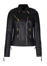 New Black Leather Jacket Women Quilted Biker Motorcycle Slim Fit All Size  - $169.99+