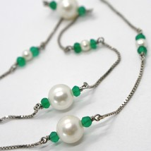 18K WHITE GOLD NECKLACE VENETIAN CHAIN ALTERNATE FACETED CHALCEDONY AND PEARL image 2