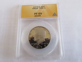 1979-S , Kennedy Half Dollar , Proof Type 1 , DCAM , ANACS , PF 69 - $25.00