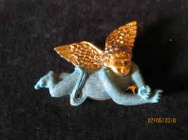 Vintage Metal Enamel Brooch- Cherub Angel Gold Wings - $12.00