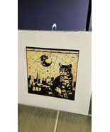 Stephen C Wagner SFHQ Digital print of cat with San Francisco in the bac... - $20.64