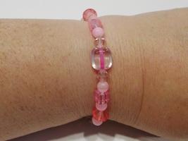 handmade pink bead and crystal stretch bracelet - $11.00