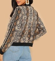 Zip Up Striped Sleeve Snakeskin Print Jacket Casual Bomber - $49.99