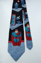 Celeration! Super Guy! Hallmark Gray Black Silk Tie Necktie Z1-284 - $13.85