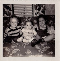 Vintage Antique Photograph Three Adorable Children & Doll on Retro Couch... - $5.35