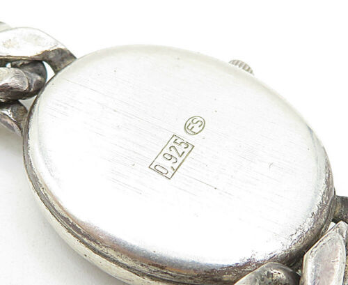 GERMANY 925 Silver - Vintage Watch Curb Link Chain Bracelet - B5145 image 3