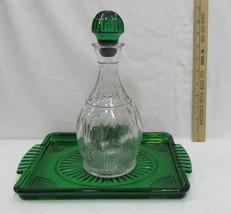 Avon Emerald Accent Green Serving Tray Decanter Clear Wine Liquor Set 2 ... - $18.80